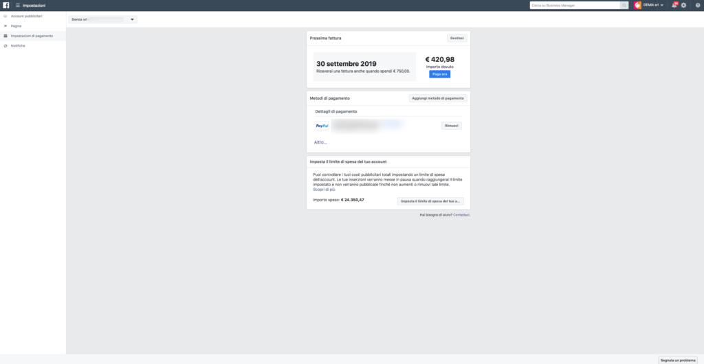 Come inserire il metodo di pagamento sul tuo account pubblicitario di Facebook